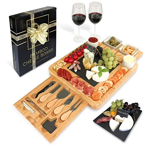 Bamboo Cheese Board and Knife Set Ceramic Bowls Wine Opener - 100% Organic Wood Serving Tray Charcuterie Board Perfect Choice for Gourmets, Birthday Presents, Wedding Gifts, Mothers & Housewarming