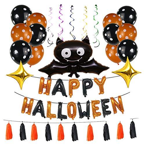 WEDFTGF - Set di 44 palloncini in pellicola di alluminio per Halloween, con nappe, gonfiabili, per feste