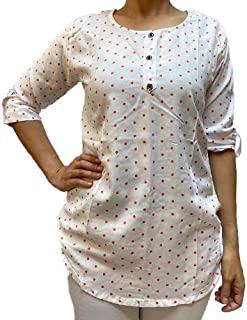 Veronica Long Sleeve Ladies Blouse round neck polka dots 3 buttons