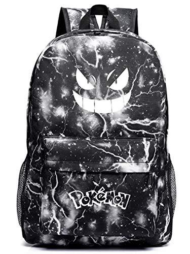 Pokemon Bag with Luminous Eyes, Kids Backpack for Boys and Girls, Luminous Pokemon Backpack Rucksack School Bag (Black Thunder)