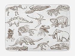 2. Ambesonne Jurassic Dinosaur Illustrations Bath Mat