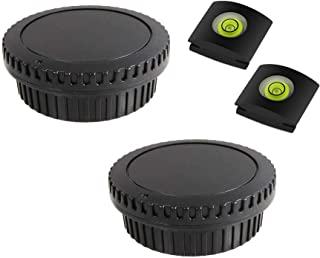 KOMET Achterlens Cover & Camera Body Cap (2+2 Pack) & Hot Shoe Cover voor Compatibel met Canon 850D 800D 90D 77D 7D 6D 5D ...