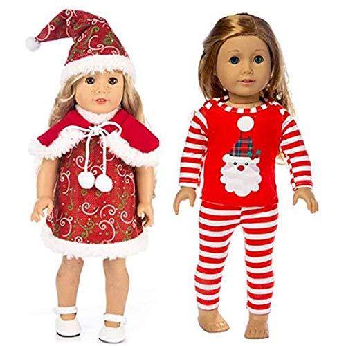Ropa de muñeca Muñeca de 18 pulgadas Muñeca de Navidad Disfraces de impresión y vestido de Papá Noel (2 piezas) Muñeca de niña Conjunto de apariencia completa