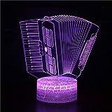 3D ilusión noche luz con acordeón remoto 3D LED lámpara noche luz Navidad regalo decorativo dibujos animados juguetes luminaria batería USB