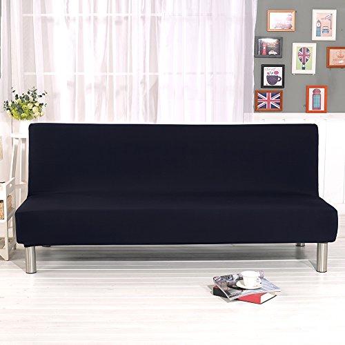 Bankovertrek, elastisch, zonder greep, sofaovertrek, gewatteerd, lounge-deken, bloemendruk, zwart