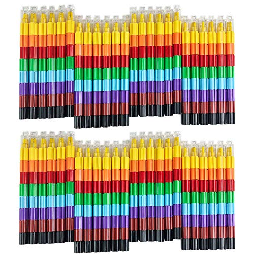 Huji Stacking Buildable 8 Colors Crayons Set, Connect Stack and Build Crayons Sideways and Up, Favorite Toys Little Ones Party Favors Safe Non-Toxic, Easy to Hold (48)