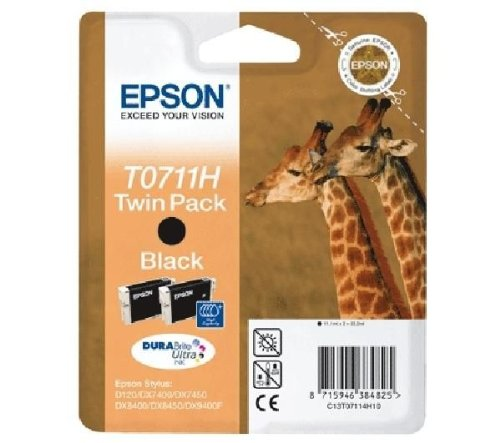 Epson C13T07114H10 Confezione 2 Cartucce Inkjet, Ink Pigmentato Blister RS T0711H, Nero, con Amazon Dash Replenishment Ready