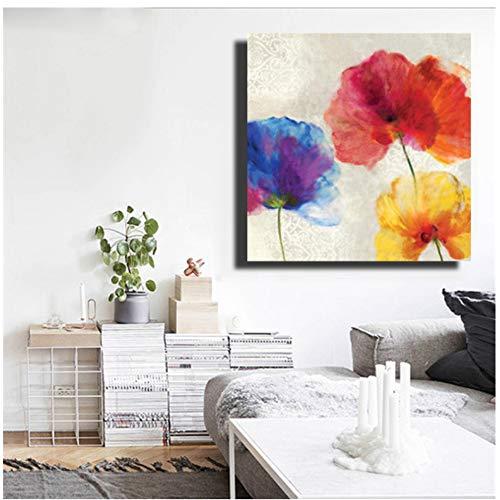 """NIESHUIJING druk op canvas schilderij muurkunst abstract aquarel bloemen voorbeeld stijl wanddecoratie kamerdecoratie 27.5""""x 27.5""""(70x70cm) Geen lijst1"""