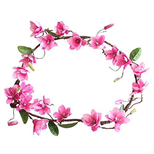 Coloré(TM) Fleurs artificielles Artificielle Faux Fleur Feuille Magnolia Vigne Floral Bouquet De Mariage Décor À La Maison (Rose vif)