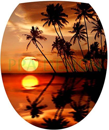 Sticker Autocollant Abattant WC Ile Couché de Soleil 35x42cm SAWC0202