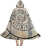 Reloj para niños Roman Digit Time Spiral Vintage con Capucha Capa Capa Disfraz Halloween