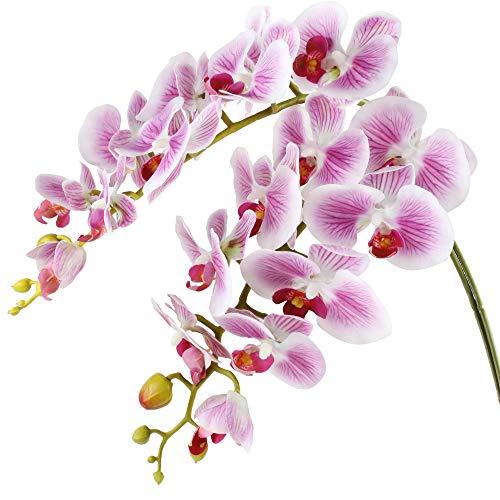 Famibay Kunstblumen Orchideenzweig Lila Künstlich Phalenopsis Zweig Orchidee Blumen