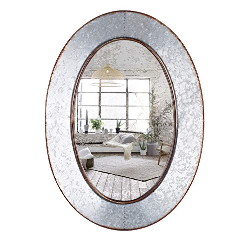 Geloo Bathroom Mirrors Industrial Galvanized - 28 Inch Oval Metal Wall Mirrors, -