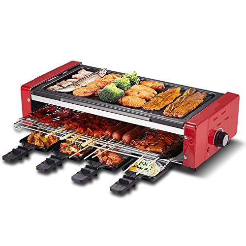 LHY HOME Parrilla Teppanyaki Nivel Doble 1500W Plancha de Asar Control de Temperatura Ajustable Antiadherente Table Plancha Adecuada para 3-7 Personas