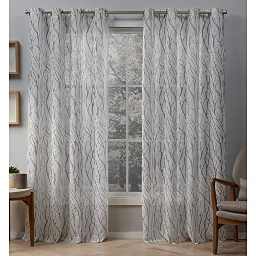 Exclusive Home Curtains Oakdale Sheer Textured Linen Grommet Top Curtain Panel Pair, 54x84, Dove Grey, 2 Count