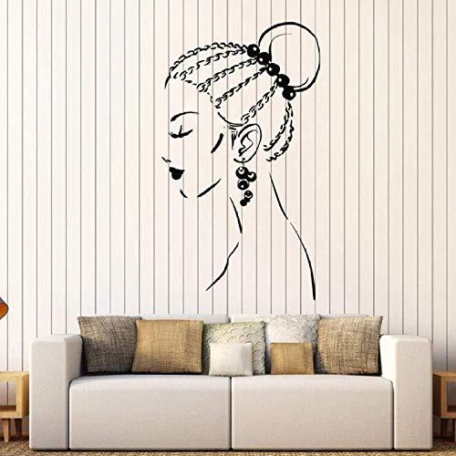 Mädchen Wandtattoos Zopf Frisur Ohrringe Beauty-Salon Fenster Dekoration Vinyl Aufkleber Tattoo Tapeten Wandkunst Aufkleber Dekor Persönlichkeit 57x32cm