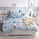 FADFAY Nautical Coastal Bedding Set Queen Size Premium 100% Cotton Hypoallergenic Super Soft Seashell Light Blue Duvet Cover Set with Hidden Zipper Closure 3 Pieces - No Comforter