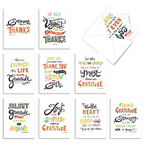 Thank You Appreciation Greeting Cards (10 Pack) - Assorted Blank Words of Appreciation Thankful Note Card Set - Colorful Gratitude and Thanks Notecard With Envelopes 4 x 5.12 inch M10019BK