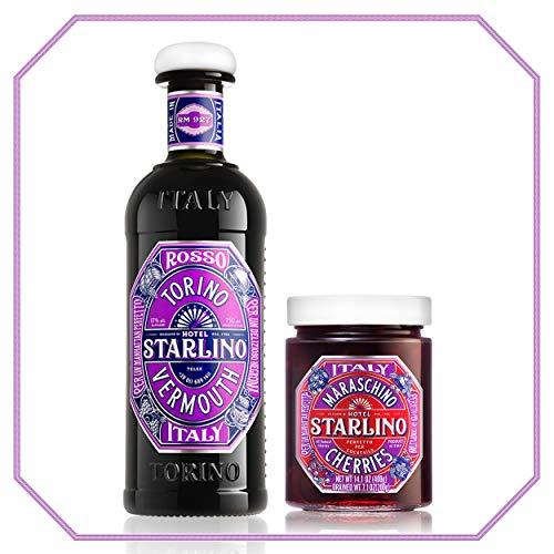 Starlino Rosso Vermouth 17% Vol Alkohol mit Maraschino Kirschen im Manhattan Cocktail-Kit (1x 0,75l Flasche & 1x 400g Glas)
