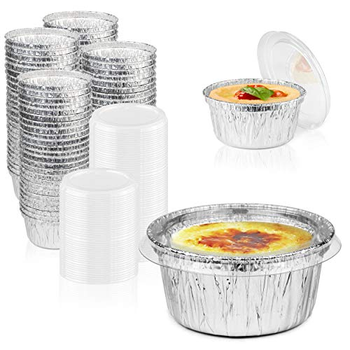 [100 Pack] Disposable Foil Ramekins with Lids - 4 oz Aluminum Custard Cups with Lids - Disposable Foil Baking Cups for Creme Brulee or Cupcake