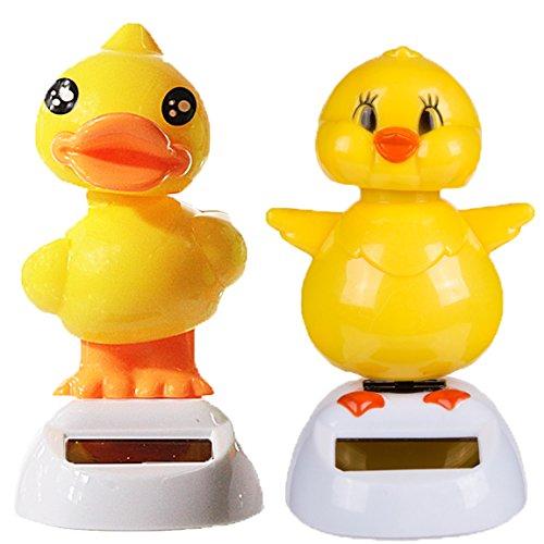 Bada Bing 2er Set Solar Wackel Figur KÜKEN Und Ente Gelb Chicken Ostern 23