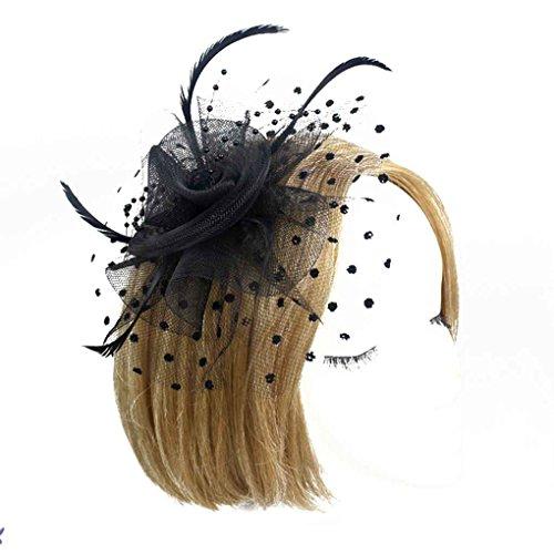 Bobury Femmes Fleur Plume Net Chapeau Mini Cheveux Femmes Hat Clip Plumes, des Femmes Clip pour fête de Mariage Banquet