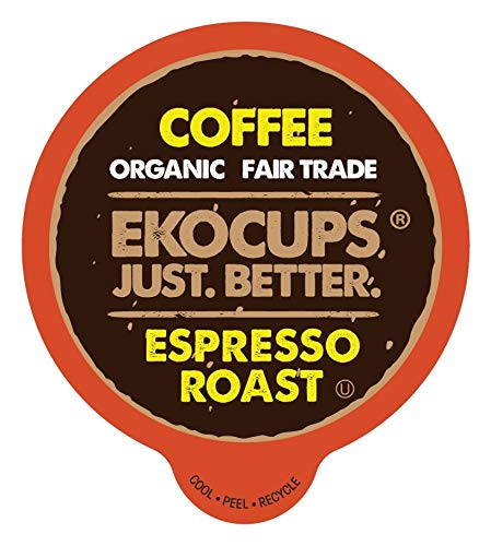 EKOCUPS Organic Espresso Coffee Pods, Fair Trade Organic Coffee Pods, Dark Roast Coffee, Single Serve Coffee for Keurig K Cups Machines, Hot or Iced Coffee, Gourmet Coffee in Recyclable Pods, 40 Count