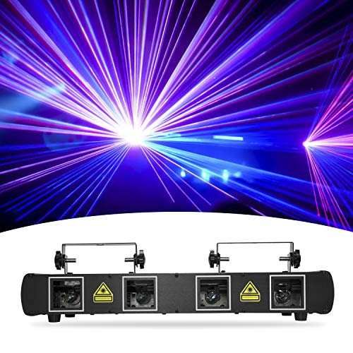 DJ Lights, BSYUN 4 Lens RGBY Sound Activated DJ Led Projector Party Lights Compatible with DMX512 Controller for Birthday Disco Dance Events Show