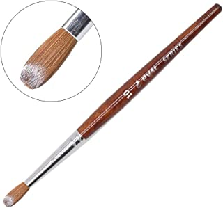 Eval Professional Pure 100% Kolinsky Sable Acrylic Nail Art Brush For Manicure Powder (Crimped) Round OVAL Red Wooden handle Size #8 (NB-33-#10)