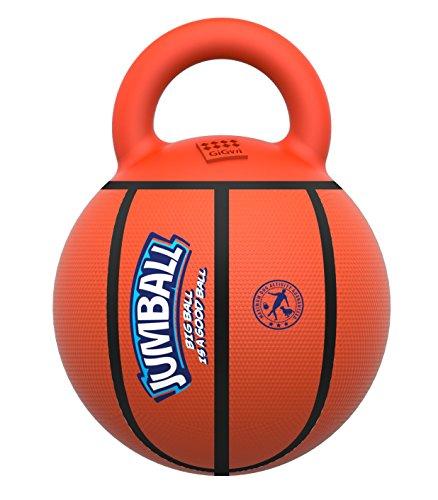 GiGwi Jumball Ball für mittelgroße und große Hunde mit extra hartem Gummigriff (Basketball)