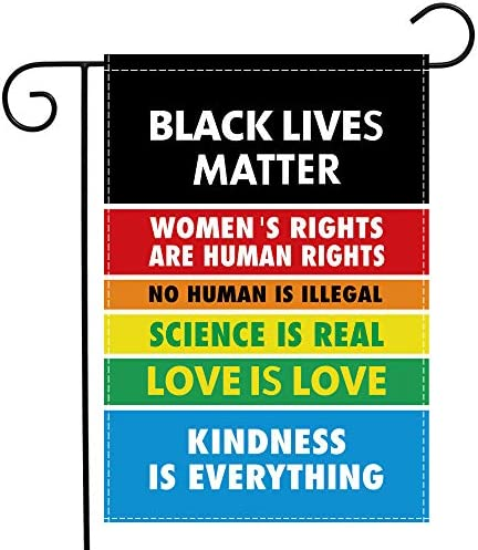 Science is Real Black Lives Matter Garden Flag Double Sided 12x18 Inch Love is Love BLM Small product image