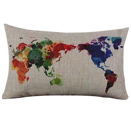 Fossrn Funda Cojin 30 x 50 Mapa del mundo Funda de almohada Lino Fundas De Cojines para Sofa Jardin Cama Decoración del hogar (01)