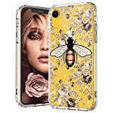 MOSNOVO iPhone XR Case, Clear iPhone XR Case, Fashion Bee Floral Flower Pattern Clear Design Transparent Plastic Hard Back Case with Soft TPU Bumper Protective Case Cover for Apple iPhone XR