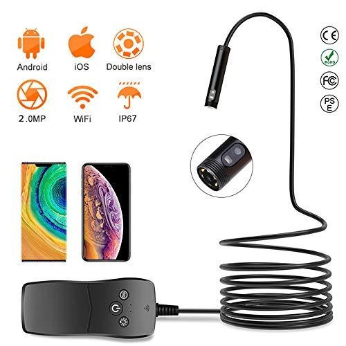 CZLABL dubbele lens 8 Mm endoscoop HD WiFi periscoop camera IP67 inspectie waterdichte camera met 6 LED's en zijdelingse camera voor tablet iOS E Android (1M / 2M / 3M / 5M)