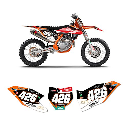 Enjoy MFG Graphics - Compatible Fit for 2016-2018 KTM SX-SXF 125-450 MILWAUKEE Motocross Dirt Bike CUSTOM Number Plates