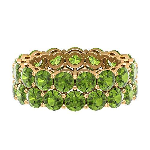 Anillo de doble fila, anillo de boda de la eternidad, anillo de peridoto de forma redonda de 8,8 ct 4 mm, anillo de piedra natal de agosto, anillo de novia apilable, 14K Oro amarillo, Size:EU 60