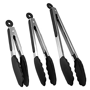 Kitchen Tongs,Xpatee 7  9  & 12  Heat Resistant Cooking Tongs with Silicone Tips for BBQ,Salads,Grilling,Serving and Fish Turning,Black
