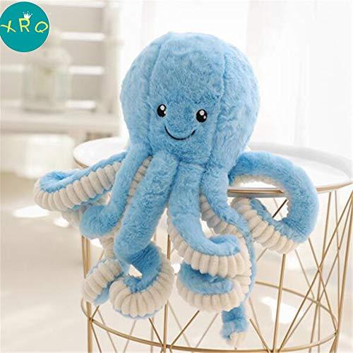 XRQ Cute Big Octopus Doll Octopus Plush Toy Descompression Pillow Rag Doll para Apaciguar Los Regalos De Los Niños Decoración del Hogar,Azul,80cm