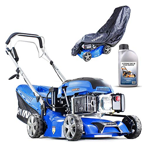 Hyundai HYM430SPE Self Propelled Petrol Lawn Mower Electric Start 17 inch 420mm Cutting Width Petrol Lawn Mower Including 600ml Oil and Rain cover