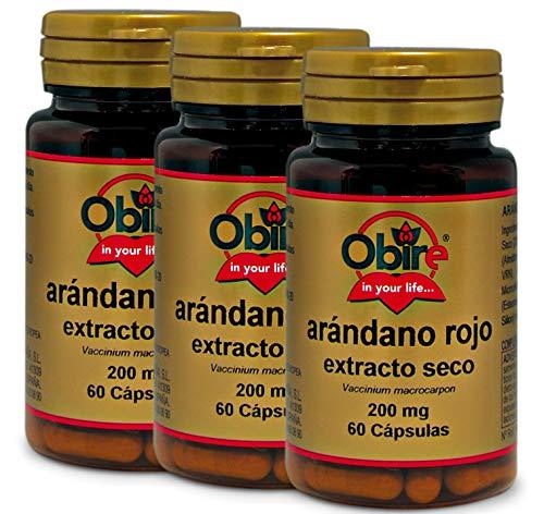 Obire | Arándano Rojo 5000 mg | Extracto Seco 200 mg | Gran Efecto Antioxidante y con Vitamina C | 60 Cápsulas. (Pack 3 unid.)
