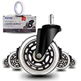 Office Chair Wheels, Heavy-Duty Office Chair Caster Wheels, 3 Inch Replacement Rubber Chair Wheels Set of 5, Chair Wheels for IKEA Chairs, Safe & Smooth Rolling for All Floors (Hardwood, Carpet)