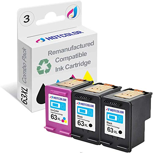 HOTCOLOR 3 Pack 63XL (2 Black 1 Tri-Color) Ink Cartridge Replacements for HP 63 XL F6U64A F6U63A for Officejet 4652 4655 3830 4650 Printer