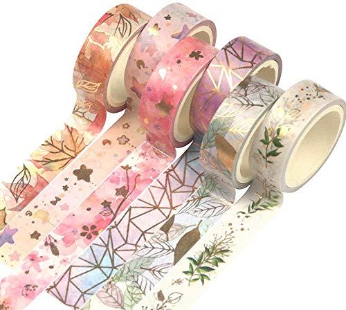 Yubbaex Washi Tape Set VSCO Goldene Foliendruck Masking Tape Dekoratives Klebeband für Scrapbooking, Bullet Tagebuch, Planer, Geschenkverpackung, Urlaubsdekoration, 6 Rollen x 15 mm Breit (Fromantic)