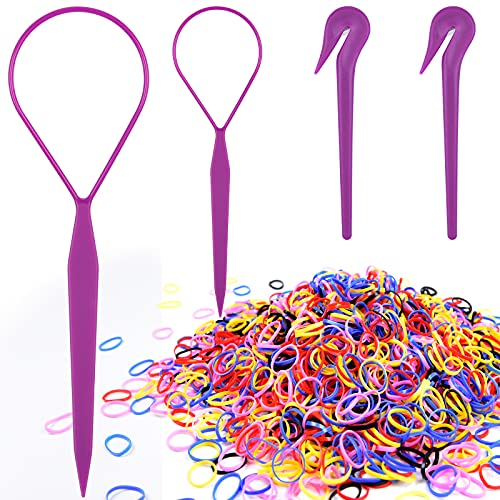 Colorful Hair Rubber Bands, IKOCO 1000Pcs Medium Elastic Hair Ties 2Pcs Hair Band Removers 2Pcs Topsy Tail Hair Tools for Toddlers Girls Mothers