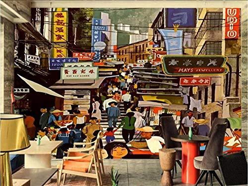 Qingany wandscherm, papierbehang, personaliseerbaar, 3D, olieverfschilderij, architectuur, Rue Landschap, muurschildering, blokjes, handbeschilderd, slot, slaapkamer, papier 250 x 175 cm.