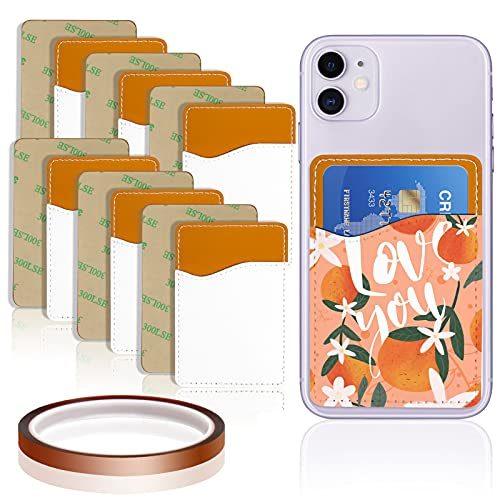 Palksky 7 Pcs Sublimation Blanks Phone Wallet, 6 Pcs Cell Phone Credit Card Sleeves Adhesive Holder with 1 Heat Transfer Tape, Stick On PU Leather Sublimation Blank Product for All Smartphones