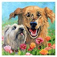 大人の子供のための油絵のキットのアクリルのDIYペイント、家の壁の装飾クリスマスギフト - 黄色の犬のための芸術工芸品 (Size : 50x60cm)