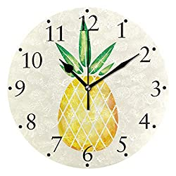 VIKKO Watercolor Fruit Hand Drawn Pineapple Wall Clocks Battery Operated Home Decorative Round Wall Clock 9.4 Inch Kitchen Bedroom Living Room Classroom Office Clock
