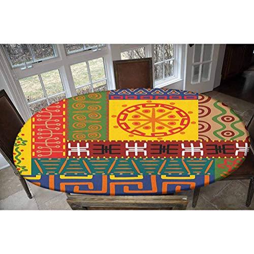 LCGGDB Primitive - Mantel ajustable de poliéster elástico, patrón abstracto, adornos, estilo tribal, ilustración decorativa, rectangular, ovalada, para mesas de hasta 122 cm de ancho x 172 cm de largo