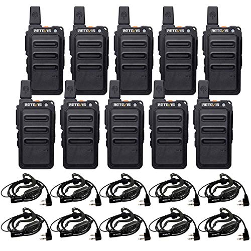 Retevis RT19 Walkie Talkies for Adults Long Range Business Small 2 Way Radios Rechargeable with Earpiece Metal Clip VOX 1300mAh Battery(10 Pack)